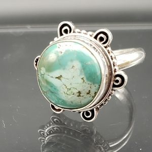 Jewelry - Vintage Sterling Bevel Set Turquoise Ring 7g